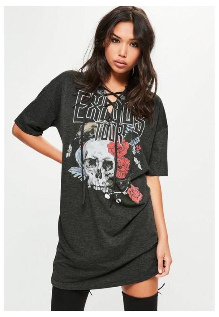 Petite Grey Graphic Print Lace Up T-Shirt Dress, Grey