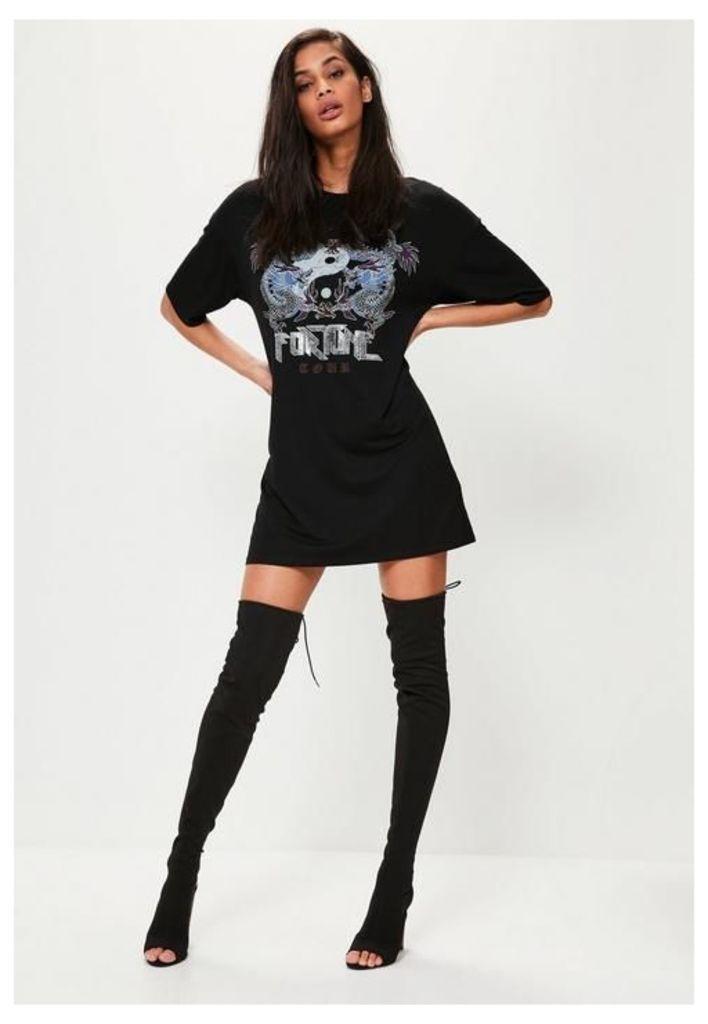 Black Graphic Rock Metal Corset Back T-Shirt Dress, Black