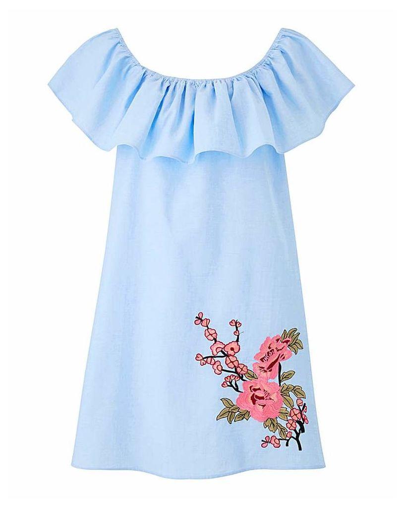 AX Paris Bardot Stripe Denim Dress