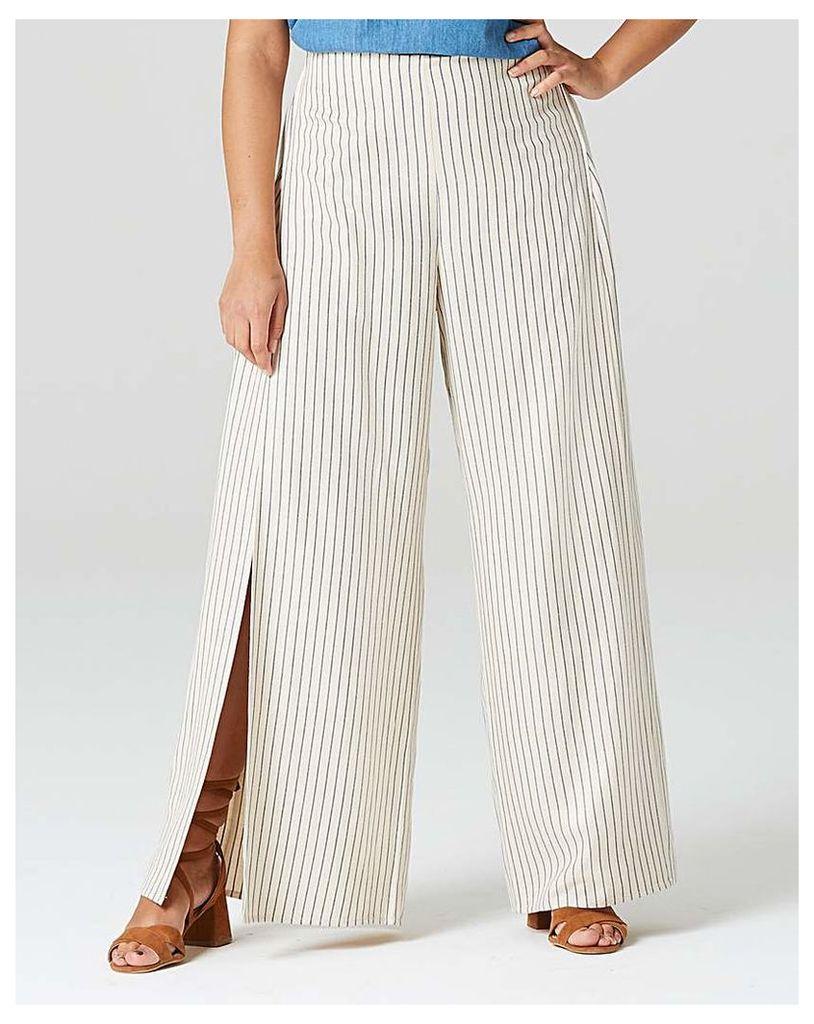 Wrap Linen Stripe Wide Leg Trouser