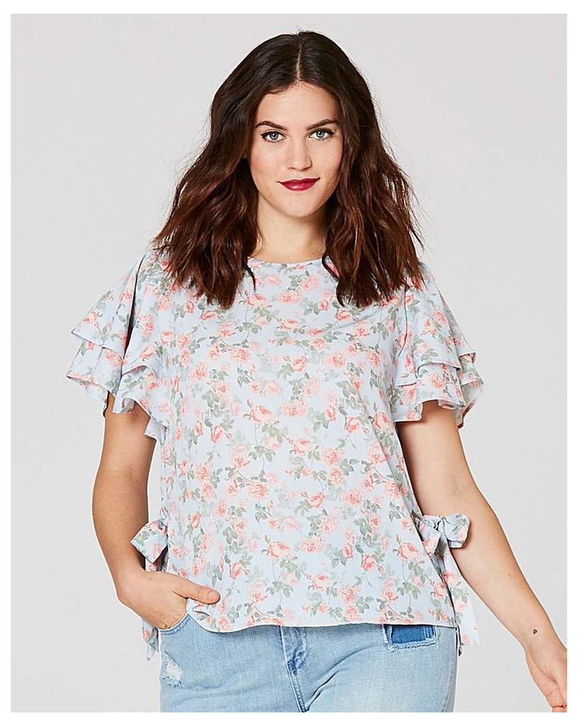 Floral Print Tie Side Blouse