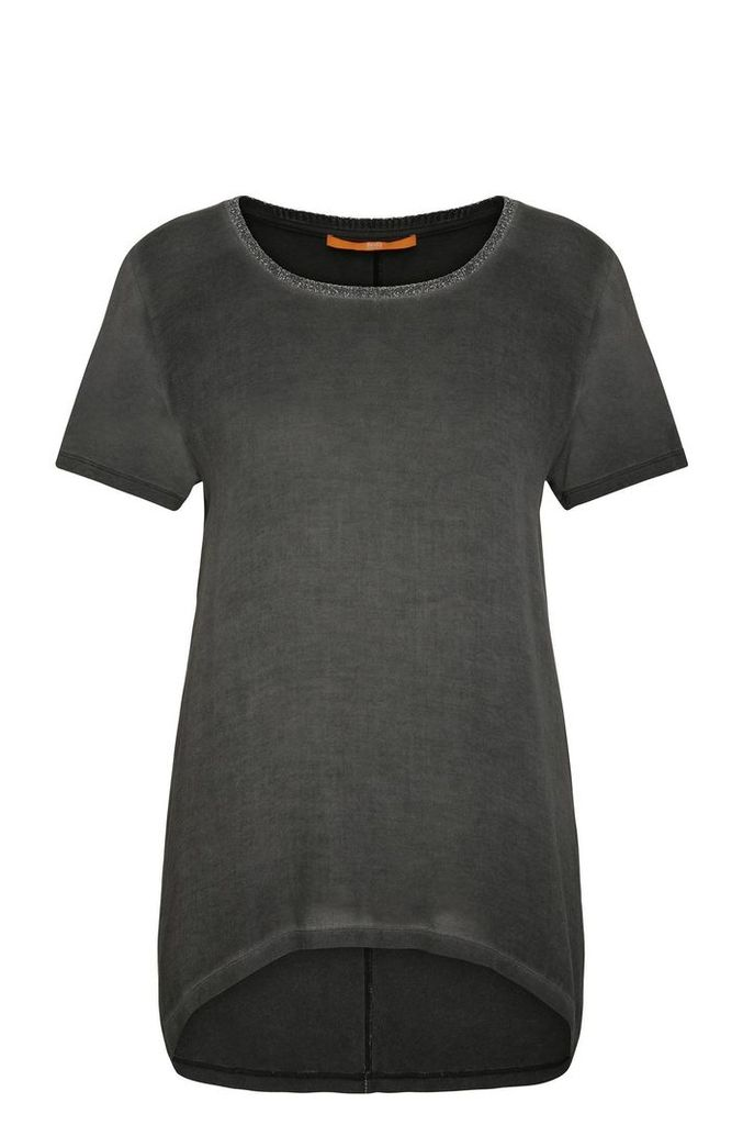 Relaxed-fit viscose t-shirt with glitter detail: `Tahiri`
