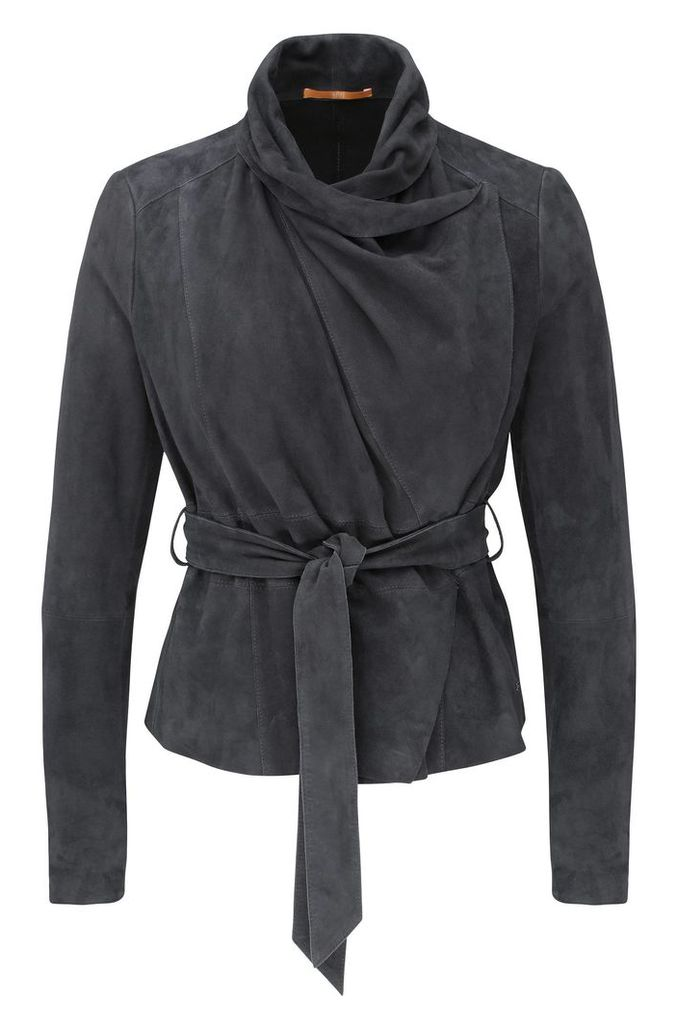 Leather jacket with cowl neck and wrap belt: `Janelli`