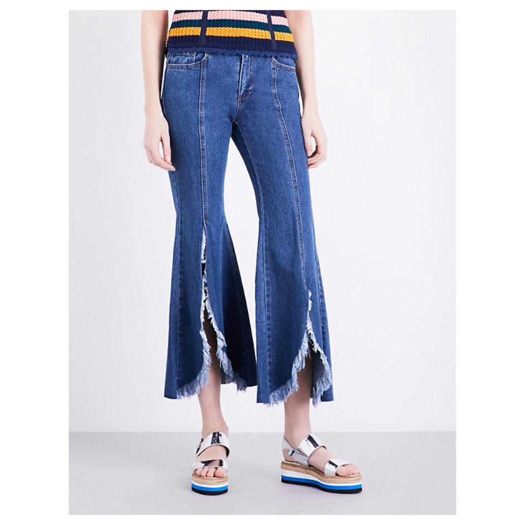 Frayed-hem flared mid-rise jeans