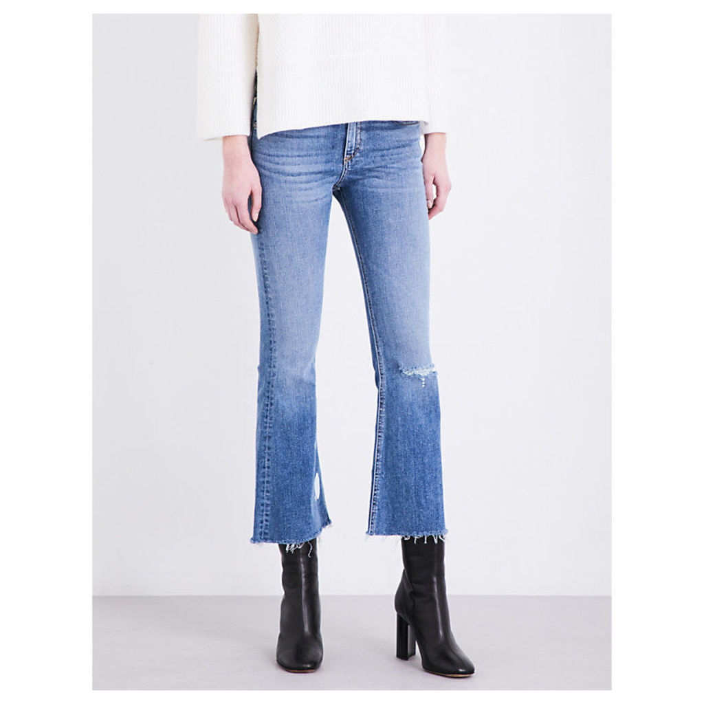 Frayed-hem cropped mid-rise jeans