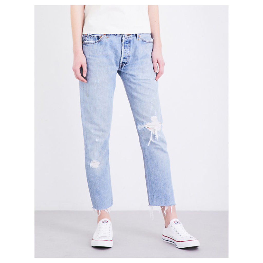 Frayed-hem straight high-rise jeans