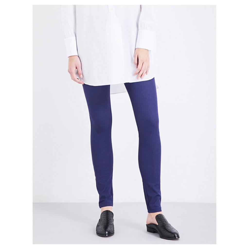 High-rise slim-fit stretch-gabardine leggings