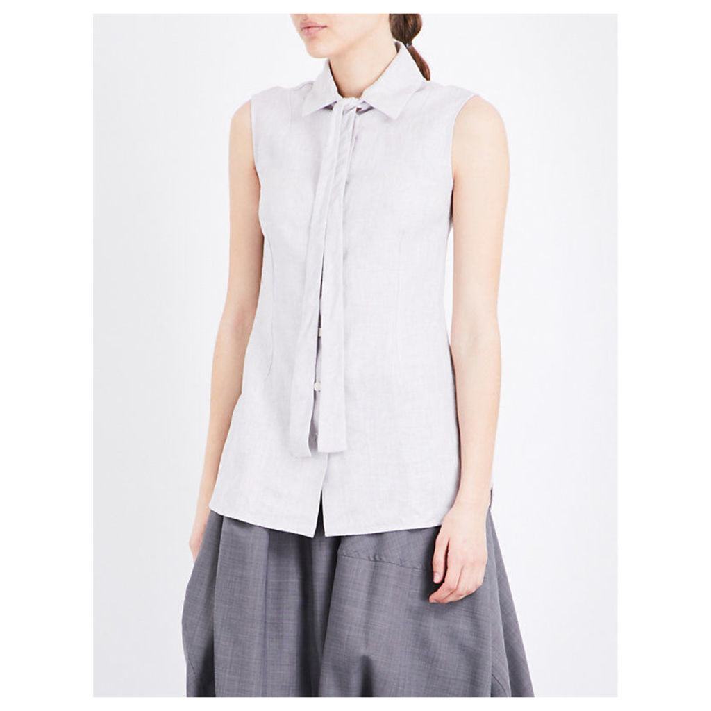 Neck-tie sleeveless linen shirt