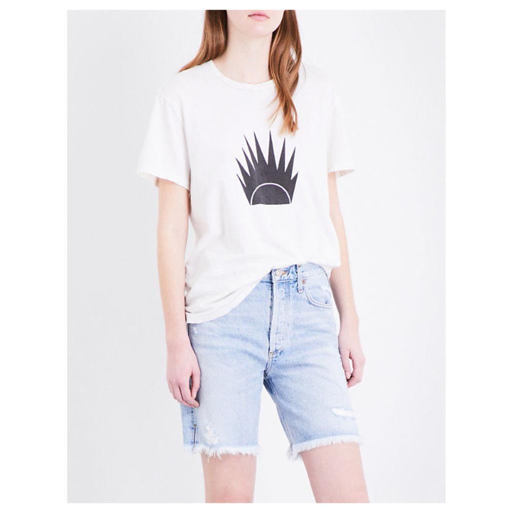 Solid sunset-print cotton-jersey T-shirt