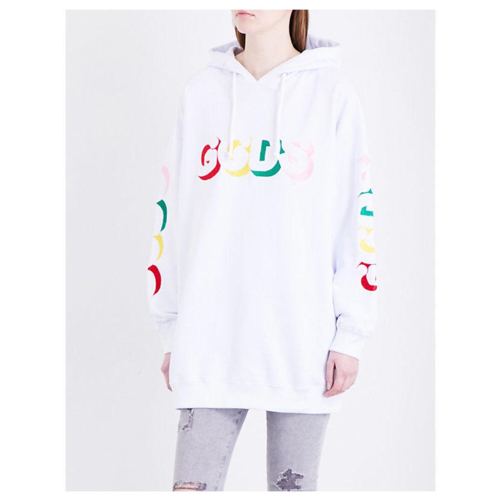 Logo-print oversized cotton-jersey hoody