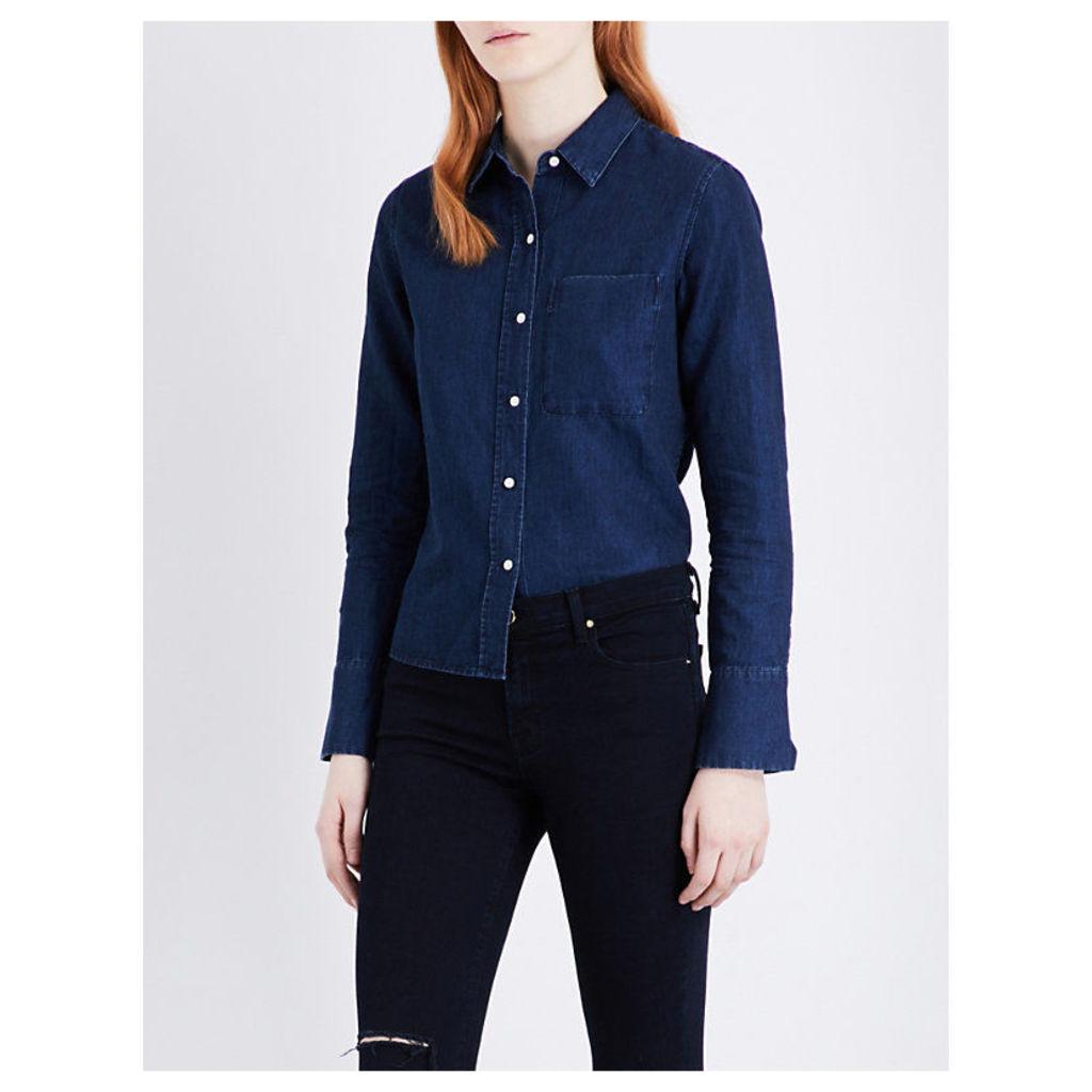 Crosby cotton and linen-blend denim shirt