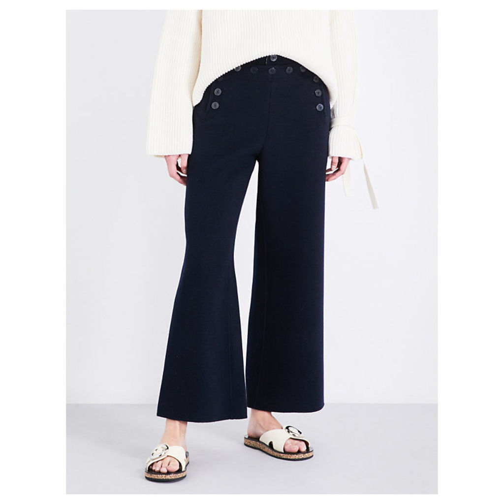Portland high-rise wide-leg wool and cashmere-blend trousers