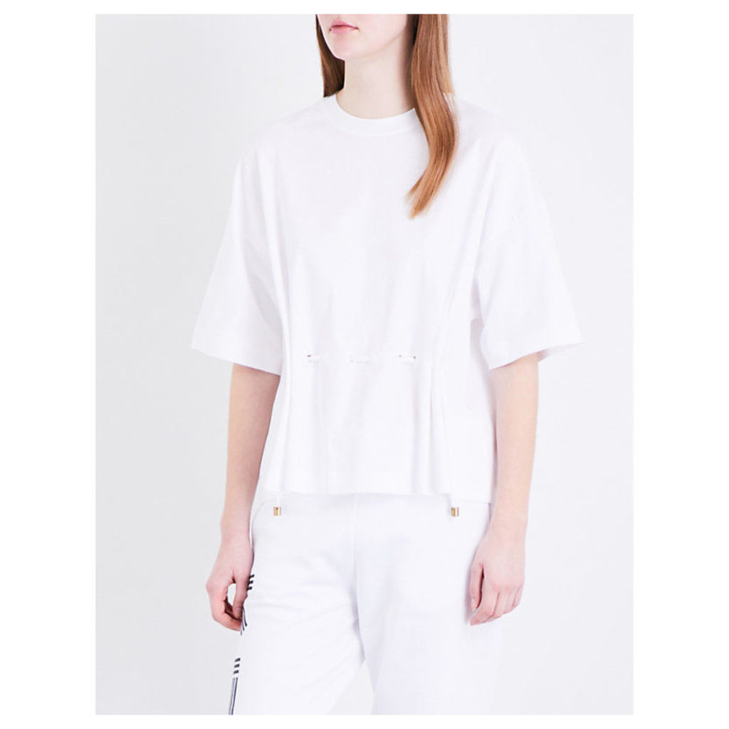 Cinched oversized cotton-jersey T-shirt
