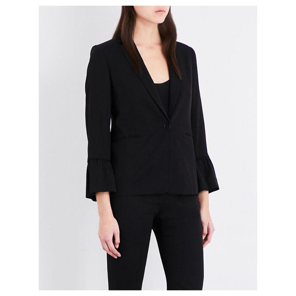 Ruched-cuff twill jacket