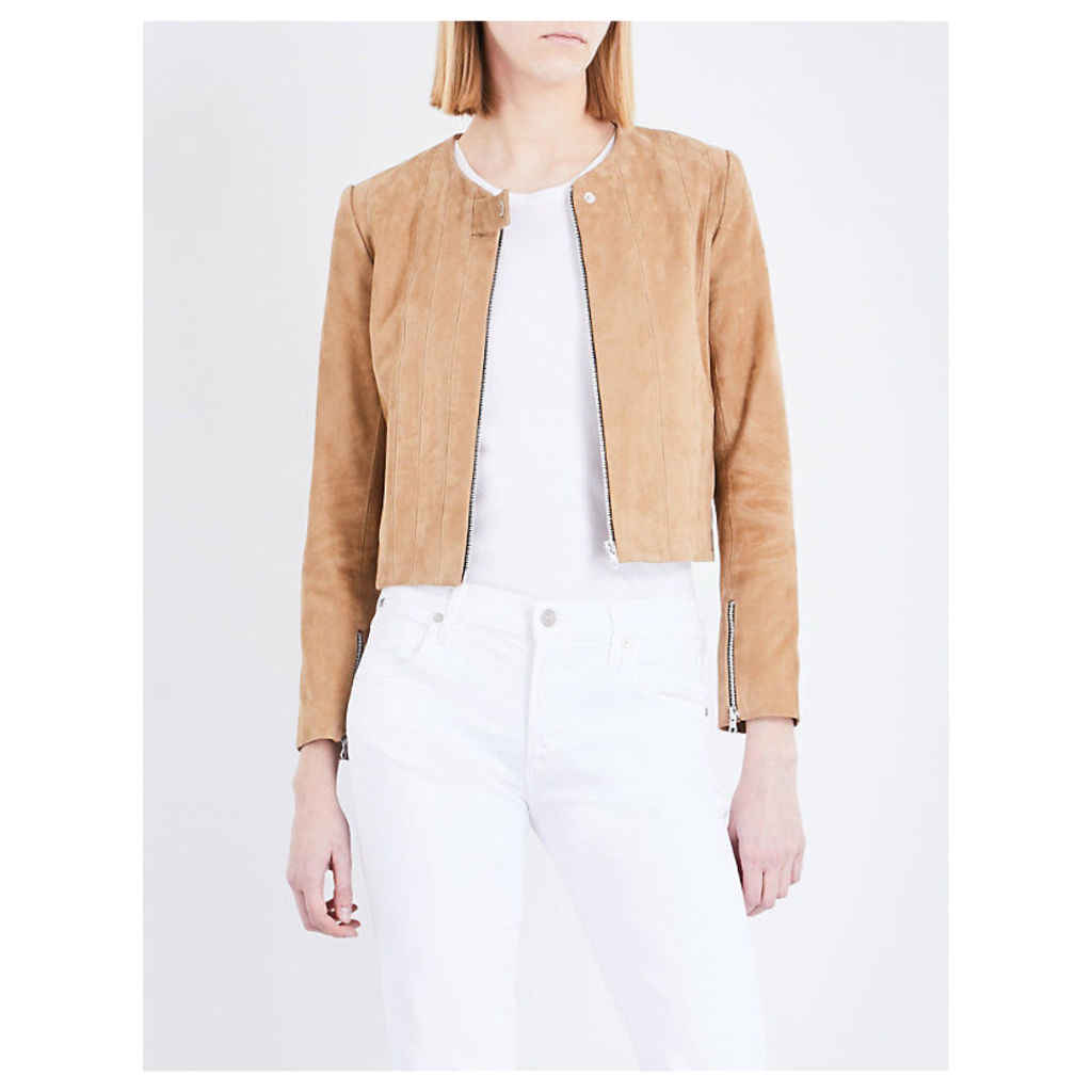 Panelled suede jacket