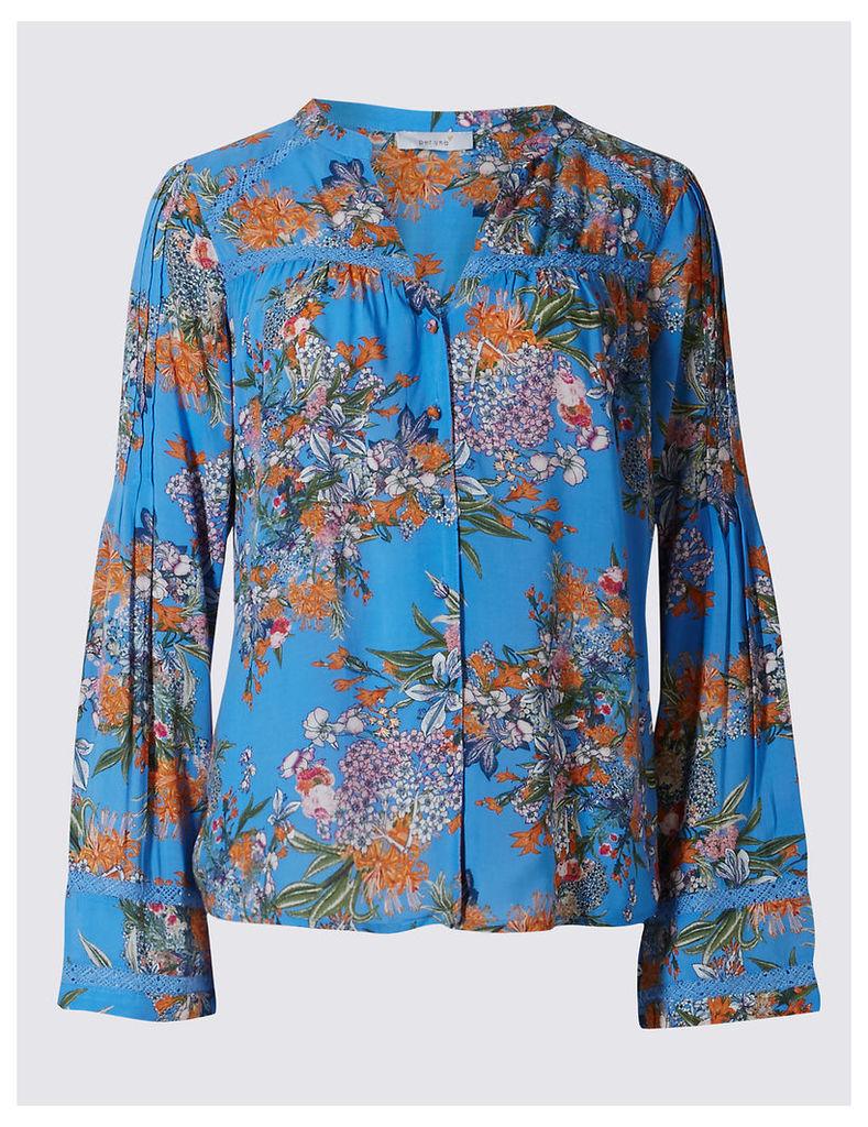 Per Una Floral Print Notch Neck Long Sleeve Blouse