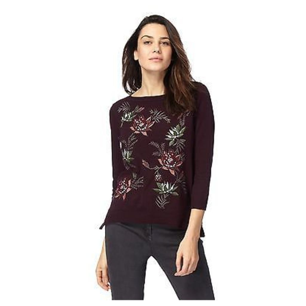 Rjr.John Rocha Womens Dark Red Floral Embroidered Jumper From Debenhams