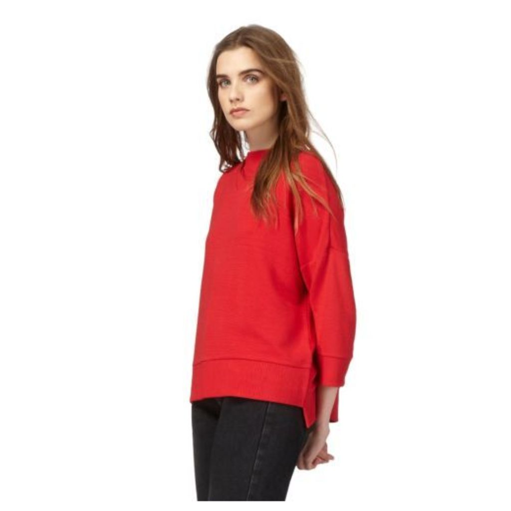 Red Herring Womens Red Funnel Neck Textured Jumper From Debenhams