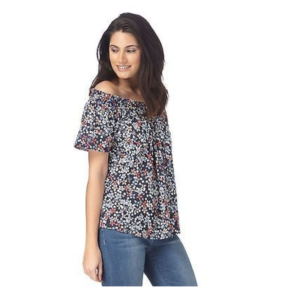 The Collection Womens Navy Ditsy Print Gypsy Top From Debenhams