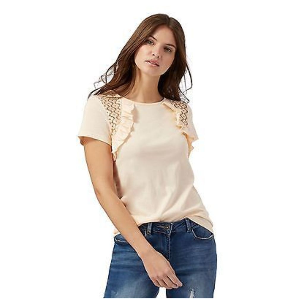 Red Herring Womens Light Orange Frilled Lace Insert Top From Debenhams