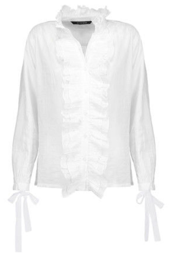 W118 by Walter Baker - Sonia Ruffled Cotton-broadcloth Top - White