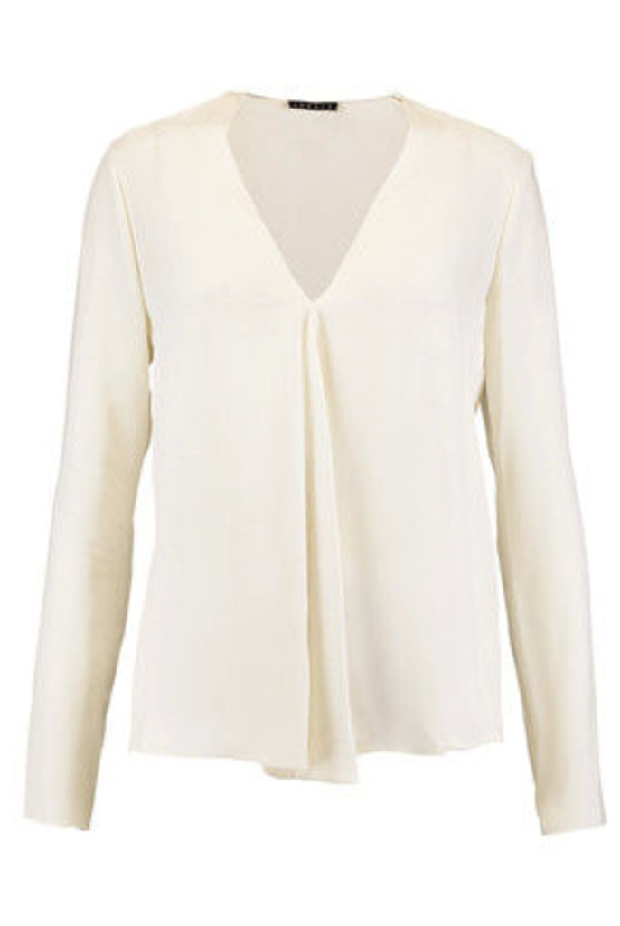Theory - Meniph Pleated Silk Blouse - Off-white