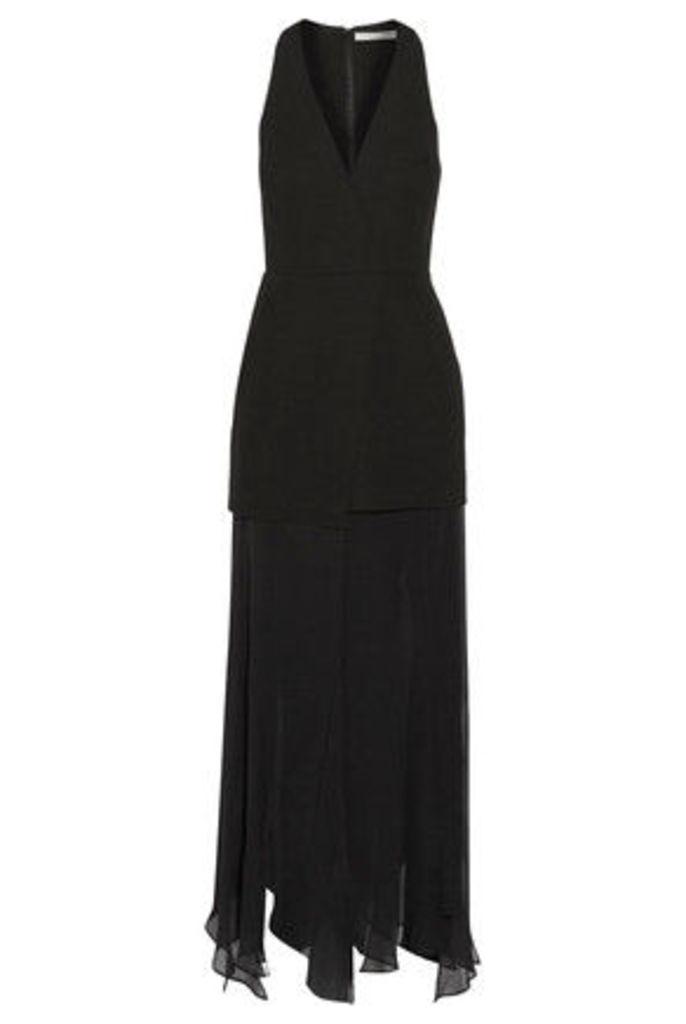 Halston Heritage - Asymmetric Satin And Chiffon-paneled Crepe Midi Dress - Black