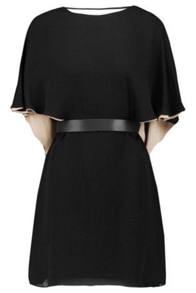 Halston Heritage - Draped Crepe Mini Dress - Black