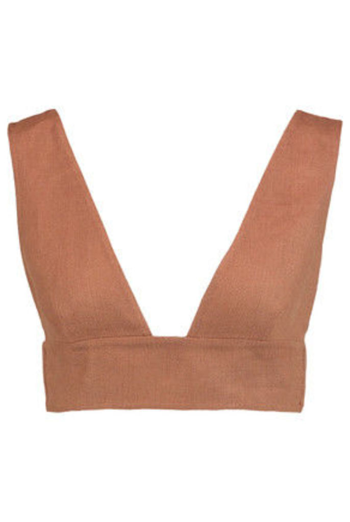 Valentino - Cropped Linen Top - Tan
