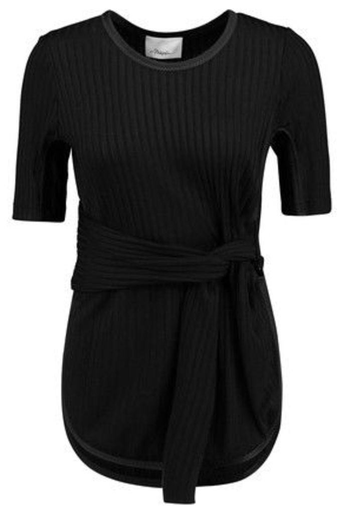 3.1 Phillip Lim - Tie-front Ribbed Stretch-jersey Top - Black