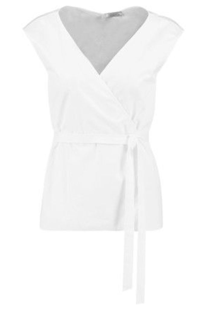 Nina Ricci - Belted Cotton-poplin Top - White
