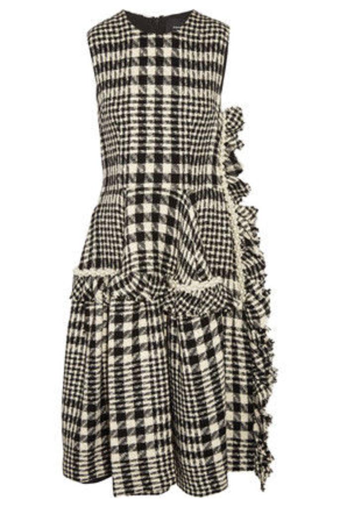 Simone Rocha - Faux Pearl-embellished Plaid Bouclé-tweed Dress - Black