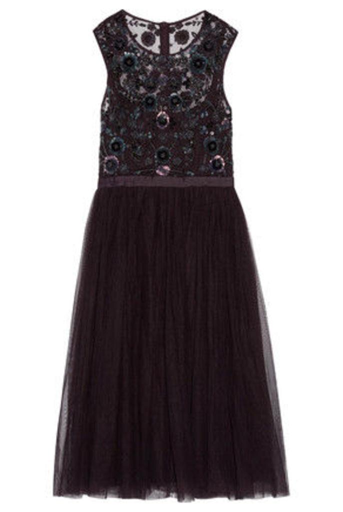 Needle & Thread - Pleated Embellished Tulle Midi Dress - Grape