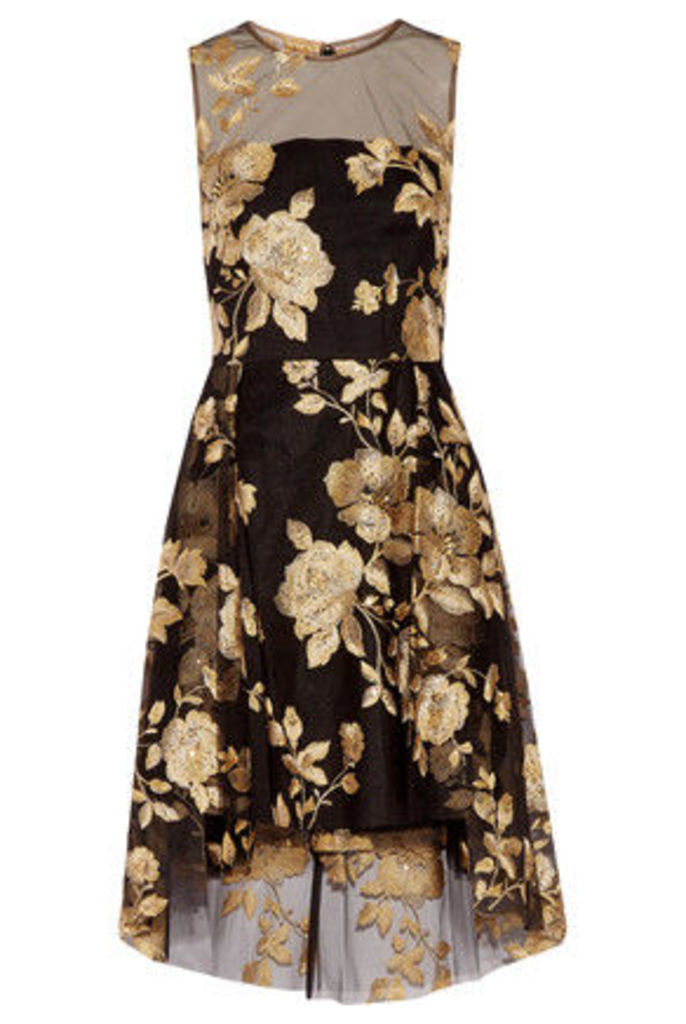 Mikael Aghal - Sequined Embroidered Tulle Dress - Black