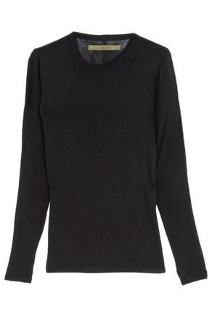 ENZA COSTA - Ribbed Stretch-jersey Top - Black
