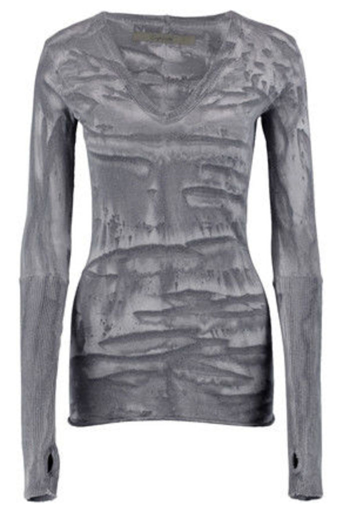 ENZA COSTA - Printed Cotton And Cashmere-blend Top - Gray