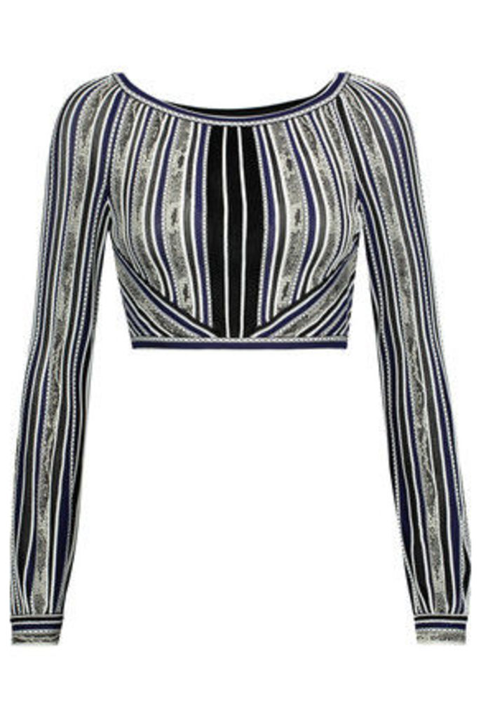 Roberto Cavalli - Cropped Embroidered Stretch-knit Top - Multi