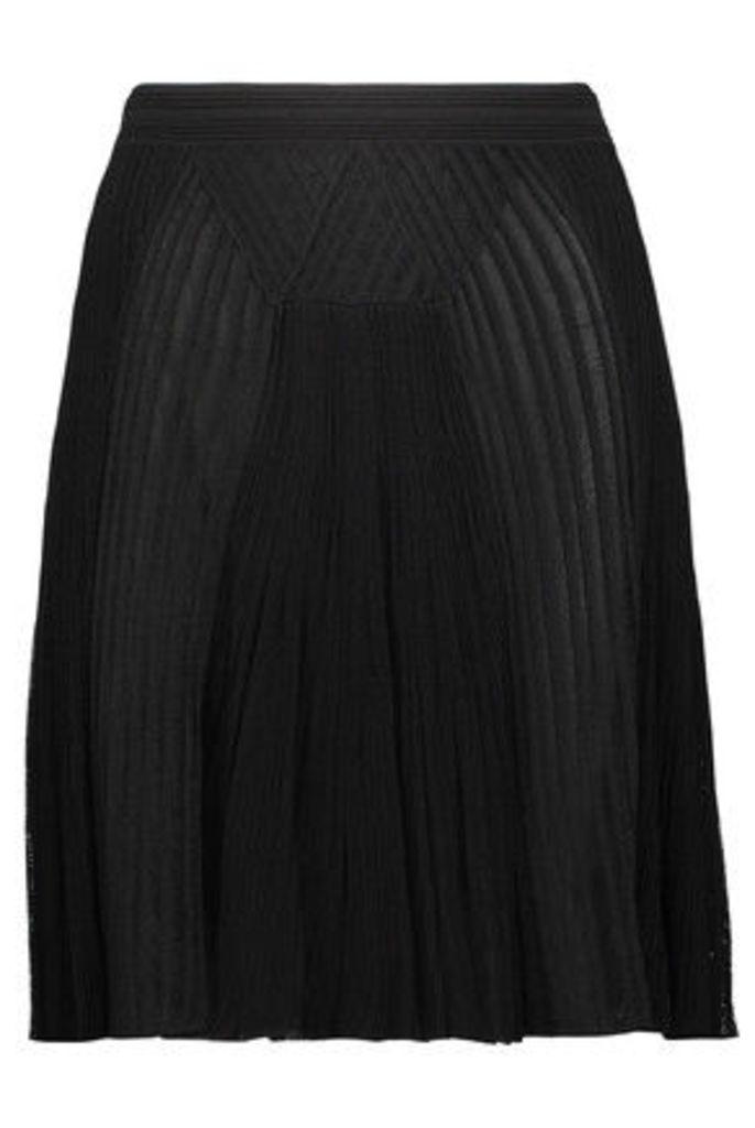 Roberto Cavalli - Pleated Ribbed And Open-knit Mini Skirt - Black