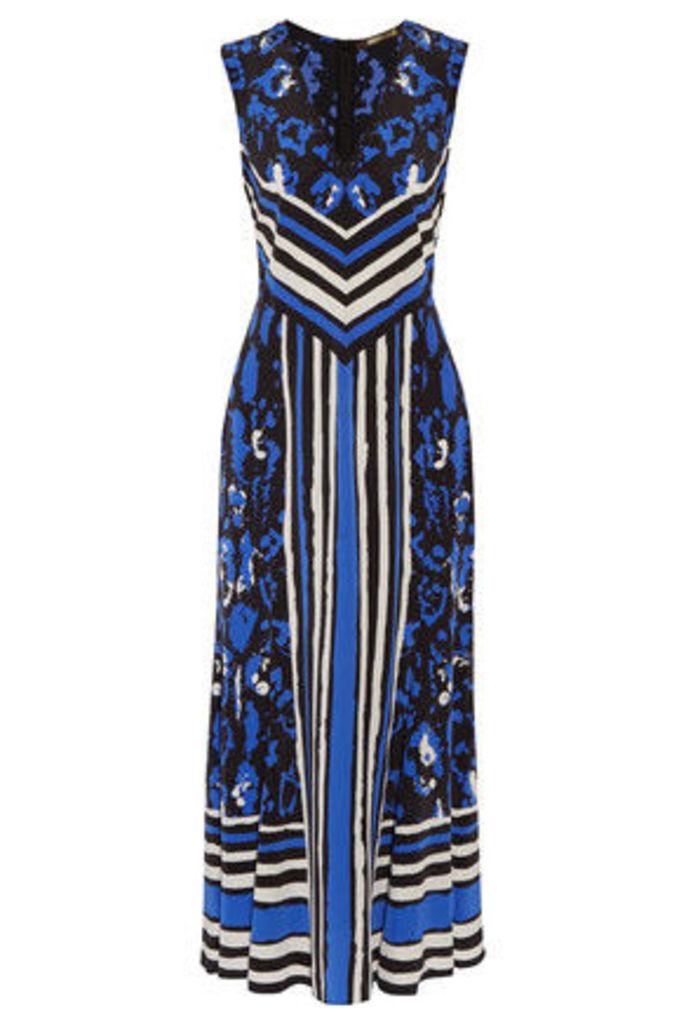 Roberto Cavalli - Printed Silk Crepe De Chine Midi Dress - Royal blue