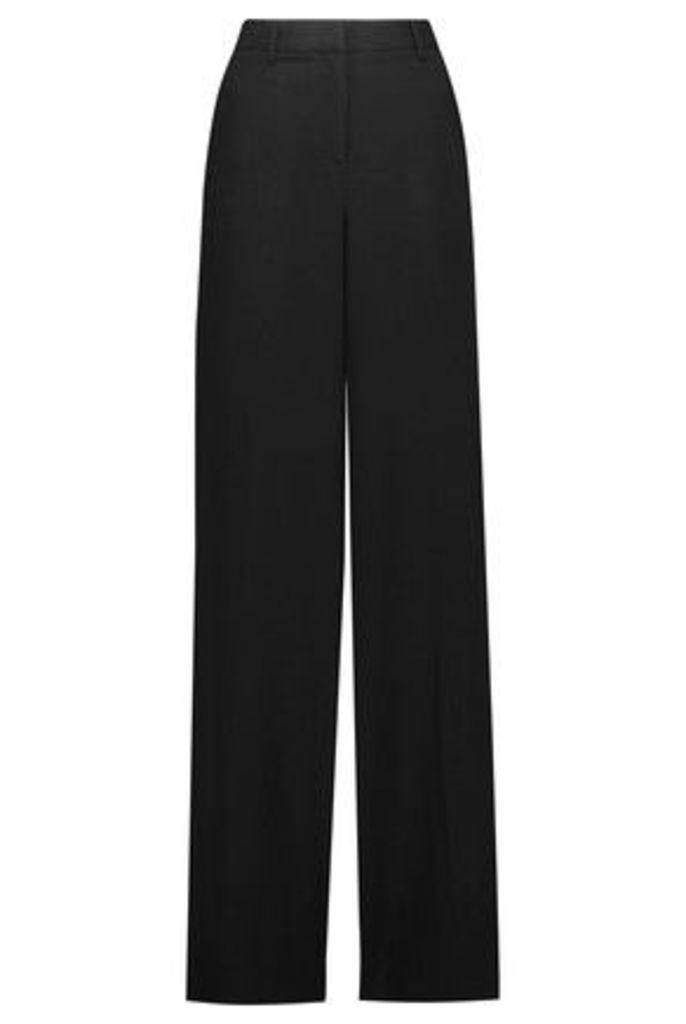 Roberto Cavalli - Silk Satin-trimmed Crepe Wide-leg Pants - Black