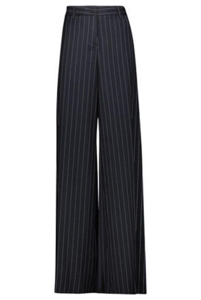 Roberto Cavalli - Striped Wool-blend Wide-leg Pants - Midnight blue