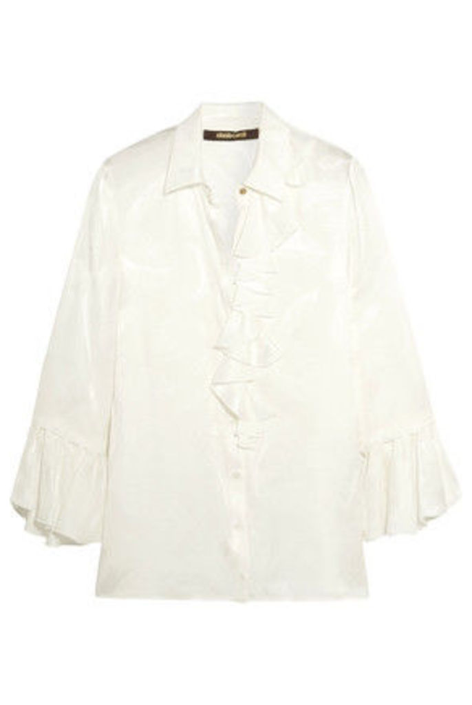 Roberto Cavalli - Ruffled Silk-satin Shirt - White