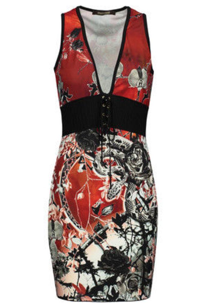 Roberto Cavalli - Lace-up Printed Stretch-jersey Mini Dress - Multi