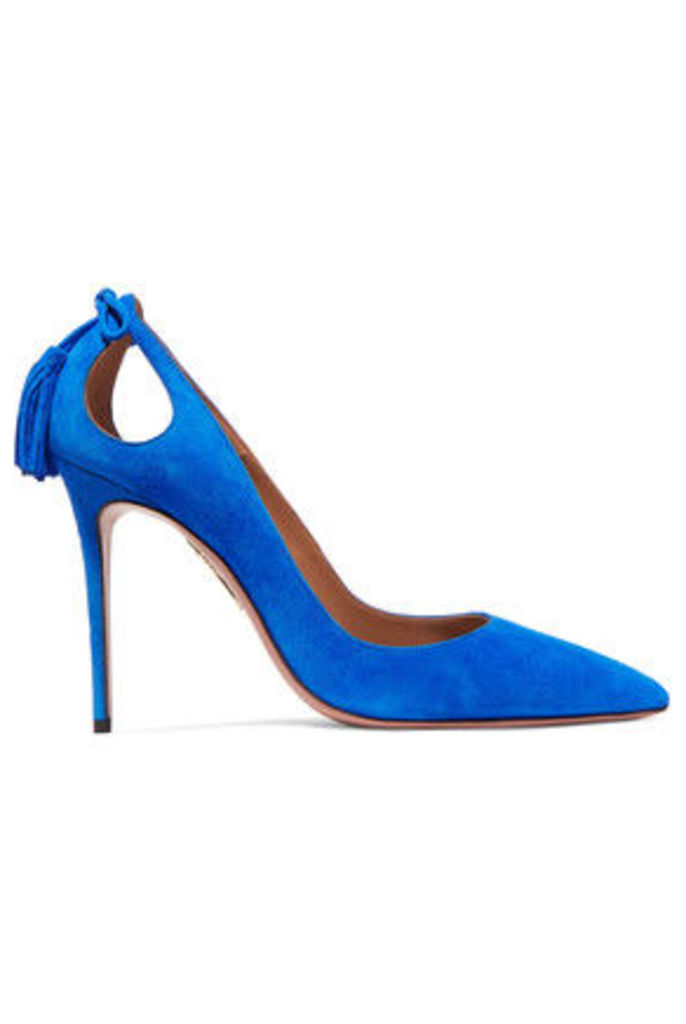 Aquazzura - Forever Marilyn Tassel-trimmed Cutout Suede Pumps - Bright blue
