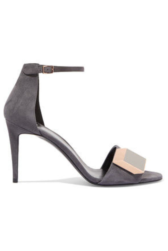 Pierre Hardy - Embellished Suede Sandals - Anthracite