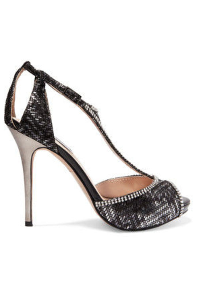 Lucy Choi London - Titania Crystal-embellished Jacquard And Suede T-bar Sandals - Black