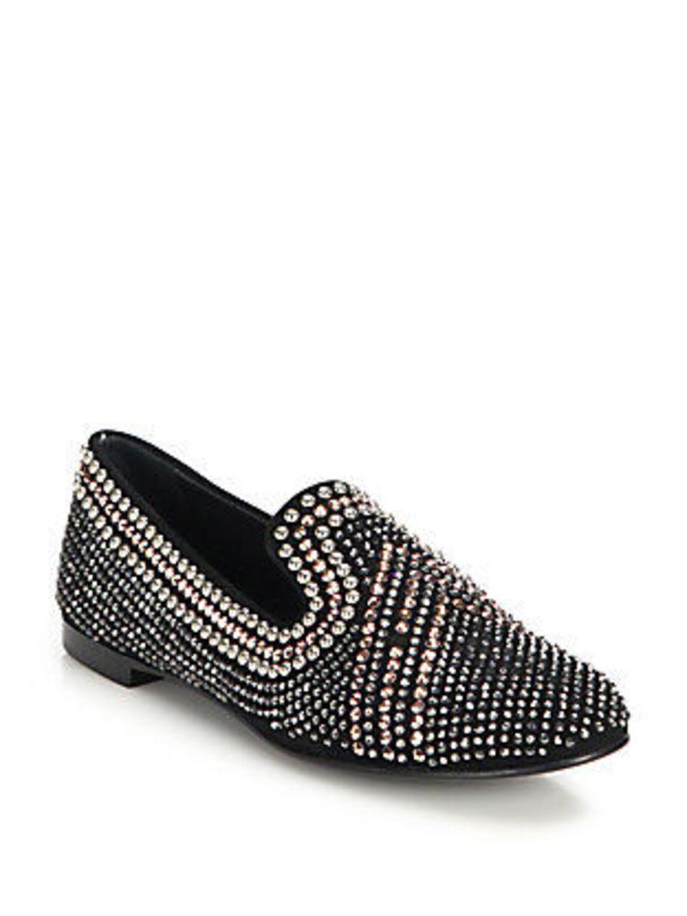 Swarovski-Embellished Suede Loafers