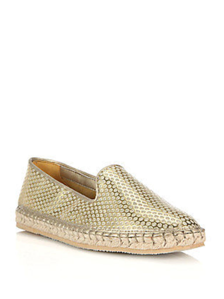 Rielle Perforated Metallic Espadrille Flats