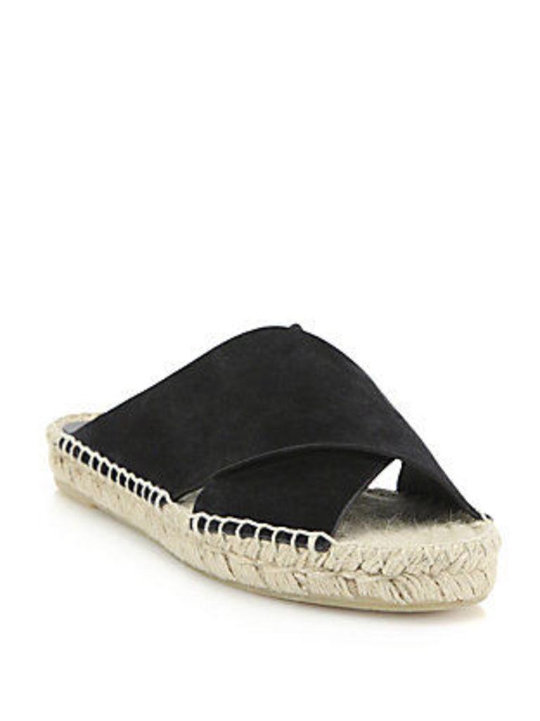 Castel Suede Crisscross Espadrille Slide Sandals
