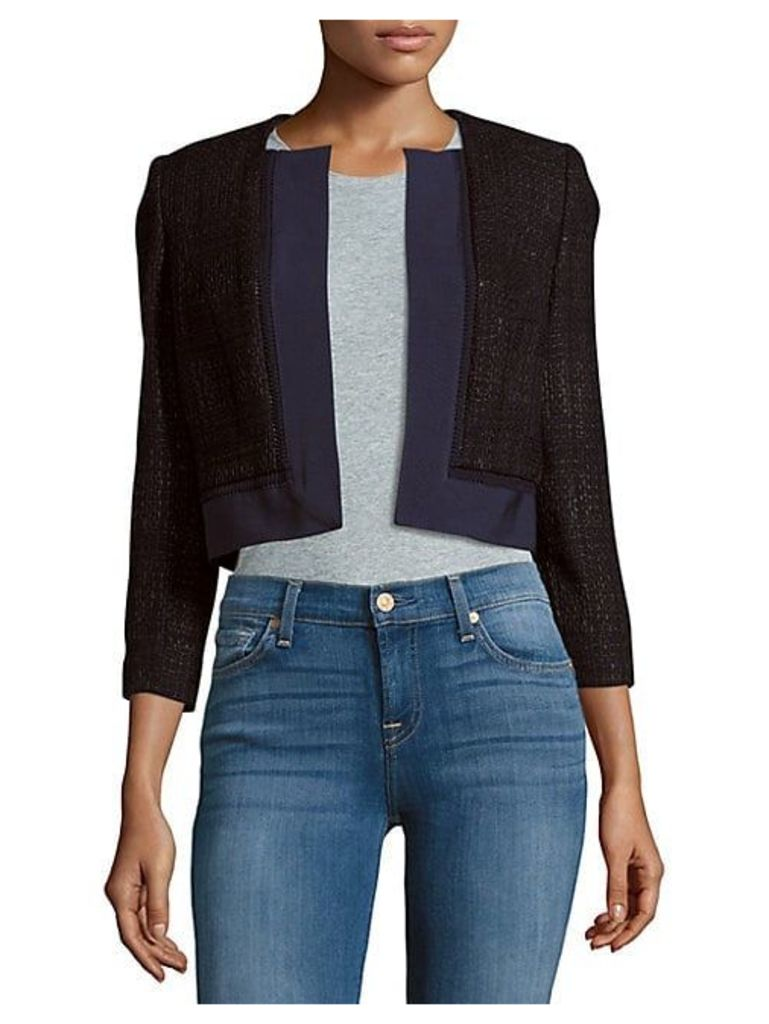 Cropped Open Front Silk Jacket